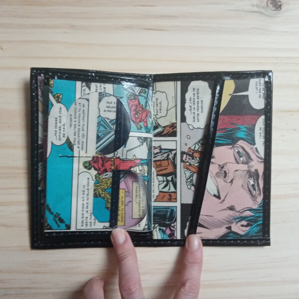porte-cartes porte-feuilles recup magazine bd usa pop vintage artisanal original pièce unique