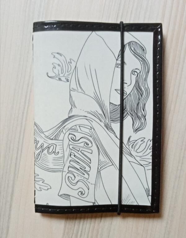 porte-cartes 8 cartes en papier de récup illustré noir et blanc